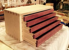Image Of Simple Natural Wood Chest Of Drawers Freebie . How To Build Woodshop Drawers: Free DIY Tool Drawer Plans .
