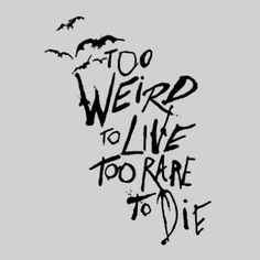 """""""Too weird to live, too rare to die."""" - Unknown #writing"""