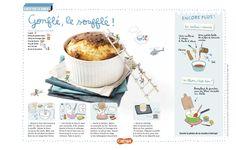 Gonflé, le soufflé ! Une recette gonflée au jambon blanc et au fromage rapé. (Extrait du magazine Astrapi n°830, pour les enfants de 7 à 11 ans)