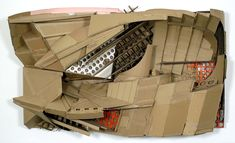 forces of the power, 2005 cardboard on wooden frame and other waist material 360 x 190 x 110 cm