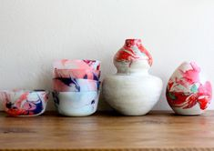 DIY marbled pots for your next weekend craft.