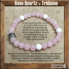 "Known as one of the ""Seven Treasures of Buddhism"", Tridacna can stabilize mood, eliminate worry, balance mental and physical states, soothe frightened nerves, help insomnia. The soothing energy of Rose Quartz fosters empathy, reconciliation, and forgiveness of others. Lowering stress and tension in the heart, Rose Quartz clears out anger, jealousy, and resentment of others. BALANCE EMOTIONS: Tridacna + Rose Quartz Yoga Mala Bracelet"