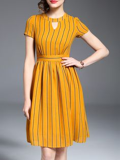 Shop Yellow Hollow Striped A-Line Dress online. SheIn offers Yellow Hollow Striped A-Line Dress & more to fit your fashionable needs. Girls Frock Design, Long Dress Design, Dress Neck Designs, Stylish Dress Designs, Designs For Dresses, Frock Fashion, Indian Fashion Dresses, Girls Fashion Clothes, Fashion Outfits