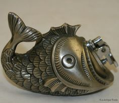 Vintage Japan made pewter fish base table top lighter  Our Price: $43.84