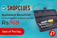 Shopclues #DealofTheDay is offering 66% off on Buildskill Bms1100 41 Pcs Magnetic Screwdriver Set With Metal Connectorat Rs.169. This Kit Contains – 1/4 Dr. Bits Ratchet Driver.  http://www.paisebachaoindia.com/buildskill-bms1100-41-pcs-magnetic-screwdriver-set-at-rs-169-shopclues/