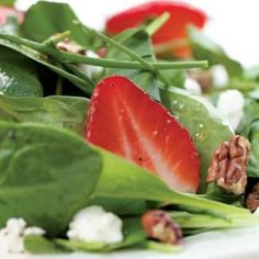 Green Salad with Strawberries & Got Cheese (Eating Well). This lively salad captures the essence of summer with ripe strawberries, chives and baby spinach. To make it a meal, top it with grilled chicken breast.