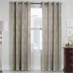 Concrete Grommet-Top Curtain Panel ($42) ❤ liked on Polyvore featuring home, home decor, window treatments, curtains, grommet curtain panels, grommet curtains, grommet drapery panels, grommet draperies and grommet window panels