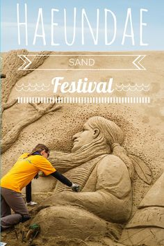 Haeundae Sand Festival in Busan -The entire beach is lined with incredible sand sculptures by artists from all over the globe and there are activities for people of all ages. #travel #korea