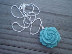 Carved Turquoise Howlite Rose Pendant Necklace by tlw1212 on Etsy