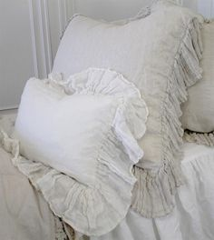 Marie Linen Ruffle Shams from Full Bloom Cottage