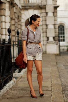already itching for spring style...? shorts + heels. belt over the shirt. oversized leather bag. | milk