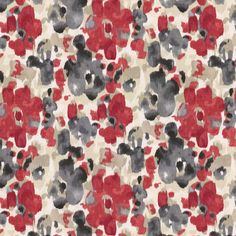 Gray & Red Watercolor Fabric | Landsmeer Currant | Loom Decor