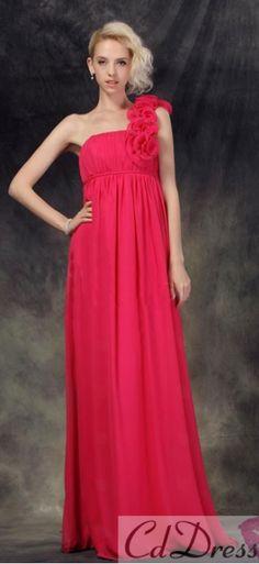 413cda216246 Amazing A-line One-shoulder Floor-length Chiffon Flowers Evening Dress