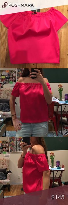 Maje, brand new off the shoulder satin fuchsia top Maje - brand new with tags; fuchsia off the shoulders satin short sleeves top Maje Tops