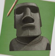 How to draw… Easter Island heads | Children's books | The Guardian Draw Two, Deep Set Eyes, Book Sites, Easter Island, White Pencil, Head & Shoulders, Line Drawing, Drawing Ideas, Pencil Illustration