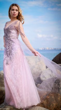 Lace Embrodered Evening Dress/Rose Lace Maxi Dress/Open Back Dress/Handembrodered Beads Romantic Dress/Prom Gown/Evening Gown Evening Dresses, Prom Dresses, Formal Dresses, Rose Lace, Open Back Dresses, Lace Maxi, Embroidered Lace, Dress Backs, Ball Gowns
