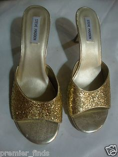 Steve Madden GOLD GLITTER Open Toe Slip On Sandals Size 11M SZ 11 M wood heel                            $9.99