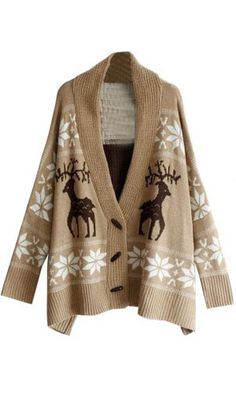 SZ New Womens Deer Pattern Snowflake With Horn Button Oversized Cape Sweater Coat SZ. $49.99