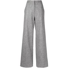 Adam Lippes wide leg trousers ($1,800) ❤ liked on Polyvore featuring pants, grey, wool blend pants, grey trousers, gray pants, adam pants and wide leg trousers