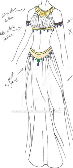 PLEASE NOTE: I do not allow any use of my designs. again for Asthenah, this time loosely based on a well-known painting depicting Cleopatra. the arm-bands would be GOLD, not brown leather. Dress Drawing, Drawing Clothes, Dress Sketches, Fashion Sketches, Medieval Dress, Belly Dance Costumes, Anime Outfits, Character Outfits, Costume Design
