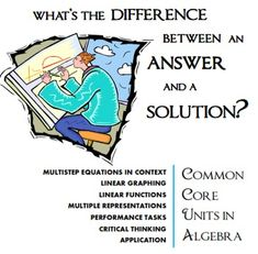 Algebra Performance Task: Multistep Equations with Tables -- Ahhh yess: Answer vs Solution Math Teacher, Math Classroom, Teaching Math, Teaching Resources, Teaching Ideas, Algebra Equations, Maths Algebra, Solving Equations, Math Homework Help