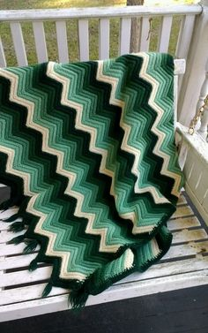 Vintage knit chevron striped green white stripe blanket throw afghan 54x64 #Unbranded #Traditional