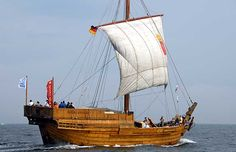 Medieval cog: modern reconstruction. Roland von Bremen at the 2nd Meeting of Medieval Sailing Ships in Wismar 2007