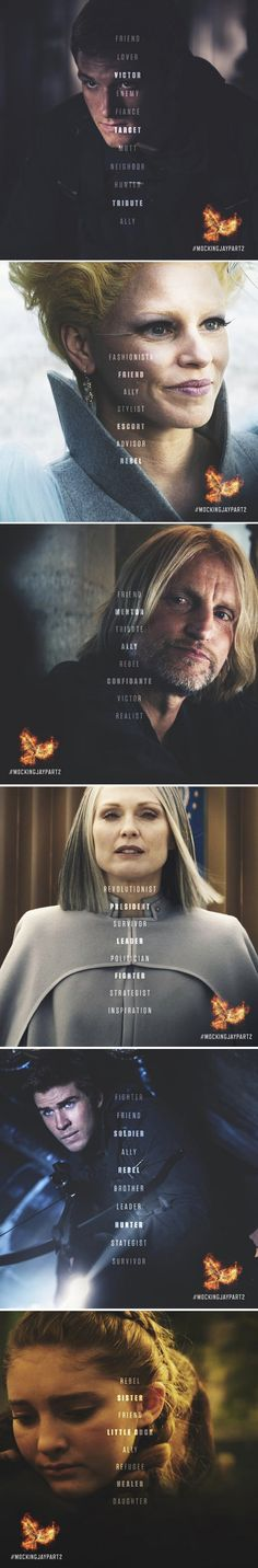 "I really love these stills with the quotes because they give me hope that we'll get the whole ""Ally. Friend. Lover. Victor. Enemy. Fiancée. Target. Mutt. Neighbor. Hunter. Tribute. Ally. I'll add it to the list of words I use to try to figure you out."" quote from Peeta. And then hopefully (my favorite quote) ""You're a painter. You're a baker. You like to sleep with the windows open. You never take sugar in your tea. And you always double-knot your shoelaces."" From Katniss :))"