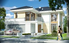 The professional team of MGProjekt are wholly able to grant a posture of lavishness to your home as you never assume even in your dream. Modern House Facades, Modern Architecture House, Duplex House Plans, Dream House Plans, Classic House Design, Modern House Design, Family House Plans, Small House Plans, Double Story House