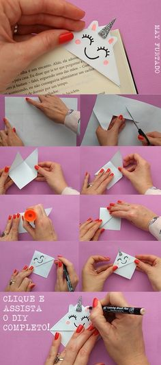 Diy bookmarks - DIY marcador de página kawaii unicórnio Clique para assistir o vídeo ) Handmade Christmas Gifts, Homemade Christmas, Christmas Diy, Origami Christmas, Christmas Projects, Christmas 2019, Christmas Ornament, Handmade Gifts, Diy Bookmarks
