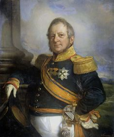 Cornelis Kruseman | Portrait of Hendrik Merkus, Baron de Kock, Army Commandant and after 1826 Lieutenant Governor-General of the Dutch East Indies, Cornelis Kruseman, 1826 - 1857 | Portret van Hendrik Merkus Baron de Kock (1779-1845). Legercommandant en na 1826 luitenant-gouverneur-generaal. Staande, ten halven lijve met de steek in de rechterhand geleund tegen het piedestal van een zuil, de linkerhand in de zij. Op de achtergrond een landschap. Onderdeel van een reeks van portretten van de…
