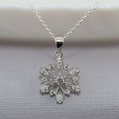 Snowflake Necklace, Sterling Silver and CZ Snowflake, Christmas Necklace, Christmas Gift, Gift for Daughter, Flower Girl Gift, Gift for Her