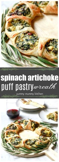 This beautiful puff pastry appetizer is filled with spinach, artichoke hearts, and Mediterranean flavors! Making a puff pastry wreath is easier than it looks!