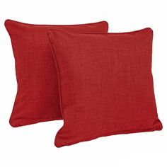 Blazing Needles 18-inch All-weather Throw Pillow (Set of 2) (Papprika (REO-SOL-04)), Red (Fabric, Solid), Outdoor Cushion