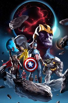 Marvel galaxy. Captain America in the front and Thanos in the back.