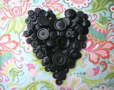 Black Buttons. Black heart. Love it.