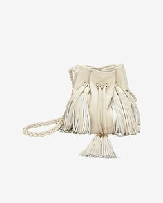 Sara Battaglia Jasmine Fringe Bucket Bag: Beige: We are loving the leather bucket bag this season as it is so chic and a convenient carryall. Braided detachable 50 cm crossbody strap. Leather drawstring fastening with multiple attached leather tassels. Measures: Width 13.5cm/Height 24cm. Contrasting ...