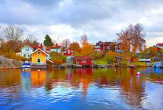 Waterfront Houses in Vaxholm, Sweden