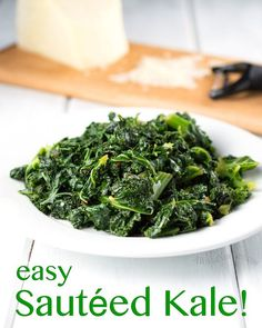 Easy Sautéed Kale is a tasty, and nutritious side dish. It's great for weeknights, because it takes less than 10 minutes to make! Tasty Vegetarian Recipes, Good Healthy Recipes, Organic Recipes, Easy Healthy Recipes, Paleo, Cooked Kale Recipes, Going Vegetarian, Vegetarian Options, Vegan Meals