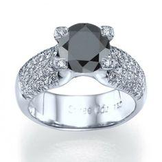 """Amour"" Vintage Inspired Micro Pave Set Designer Black & White Diamond Ring"
