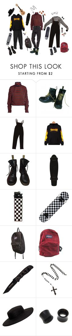 """Goth skater boi out here"" by ghostgay ❤ liked on Polyvore featuring McQ by Alexander McQueen, Dr. Martens, ASOS, WithChic, Equipment, JanSport, VIVETTA, NOVICA and aesthetic"