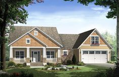 This Country House Plan includes 3 bedrooms / 2 baths in 1800 sq ft of living space. Its open floorplan layout is flexible and is ideal for your growing family. Best of all, its designed to be affordable to build and includes all of the most popular features you're looking for in your next home design. #houseplan #dreamhome #HPG-1800C #HousePlanGallery #houseplans #homeplans Craftsman Style Bungalow, Bungalow House Plans, Cottage House Plans, Craftsman House Plans, Bedroom House Plans, House Plans One Story, Dream House Plans, Small House Plans, Kerala