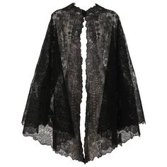 Preowned 1850s Chanitlly Bobbin Lace Evening Cape ($1,400) ❤ liked on Polyvore featuring outerwear, jackets, cape, coats, tops, multiple, lace cape, cape coat and evening cape
