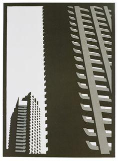 Paul Catherall - Barbican I - linocut Cityscape Art, Barbican, A Level Art, London Art, Brutalist, Architecture Details, Architecture Posters, Linocut Prints, Arquitetura