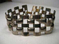 """Vintage Silver Tone Wide Woven Link Bracelet, 7.5"""",1.25"""" wide, 1970-80's-5 rows #Unsigned #linkedbracelet"""