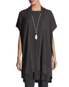 Eileen Fisher Tencel  Rib Kimono Cardigan In Graphite Small NWT #EileenFisher #Tunic