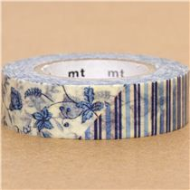 mt Washi Masking Tape deco tape flowers black blue red - Flower Tapes - Deco Tapes - Stationery - kawaii shop modeS4u