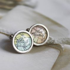 Map cufflinks for groom
