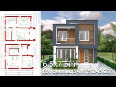 Small House Design with Full Plan 2 Bedrooms - SamPhoas Plan Simple House Plans, My House Plans, Bedroom House Plans, Modern House Plans, House Floor Plans, Duplex House Design, Small House Design, Modern House Design, Flat Roof House