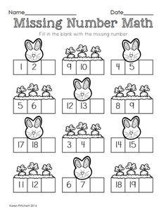 10 easter math graphing missing number counting on ten frames. Kindergarten Math Worksheets, Preschool Math, Math Classroom, Teaching Math, In Kindergarten, Math Activities, Easter Worksheets, Math For Kids, Fun Math